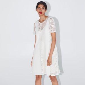 Zara lace contrasting dress white